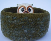 felted wool bowl container treasure dish dark olive and slate blue