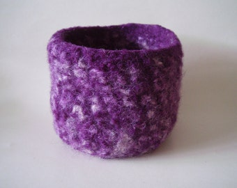 felted wool bowl container violet and cream