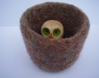 wee felted wool alpaca  bowl container ring holder fuzzy brown
