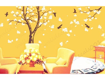 Magnolia Tree Wall Decal wall sticker  flower decal room decor nature wall decor  graphic mural   -Magnolia Tree with Birds