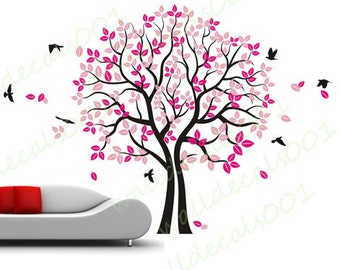 love Tree Wall Decal wall sticker  flower decal room decor nature wall decor  graphic mural  -twinsTree with Birds