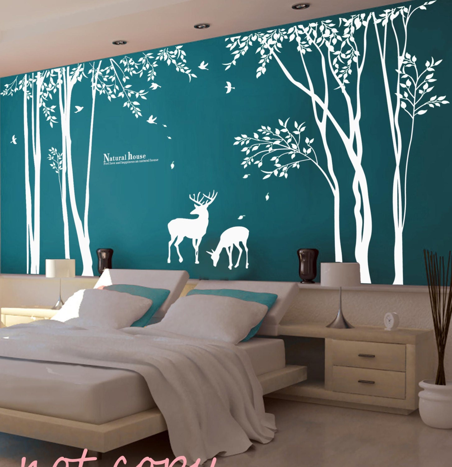 Vinyl tree wall decal wall sticker deer decal forest decal for Wallpaper decals