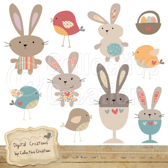 Egg Cup Bunny Rabbit and Bird Digital Clip Art - Cute Patterned Birds and Bunnies Clipart perfect for Scrapbooking and Paper Crafts