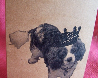 Cavalier King Charles Spaniel Dog With Crown Full Body Set of ANY 3 Greeting Note Cards Invitations Kraft Cardstock matching envelopes 5 x 7