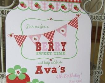 Sweet Berry - The Original Mason Jar Die Cut Strawberry Birthday Invitation - Strawberry Mason Jar Custom Die Cut