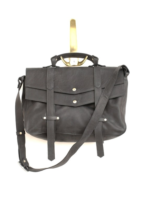 Black messenger bag - cross body leather bag