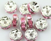 20 Light Pink rhinestone rondelle spacer beads 8mm DB08996