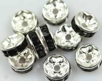 20 Jet Black rhinestone rondelle spacer beads 8mm DB08997