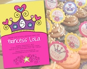 Pink Princess Party Invitations & Cupcake Toppers