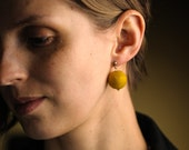 Small Felt Bead Earrings Mustard Yellow Post Stud Earrings
