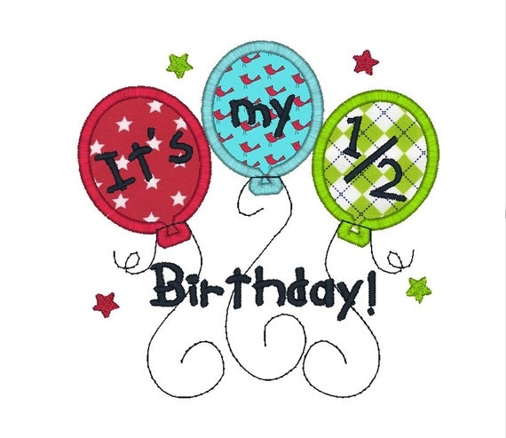Half Birthday Applique Machine Embroidery By SewChaCha On Etsy