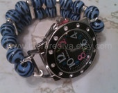 Blue/White Bling Interchangeable stretch watch