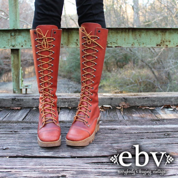 Vintage 70s  Brown Leather Lace Up Hippie Boho Wedge Heel Knee Riding Boots 9