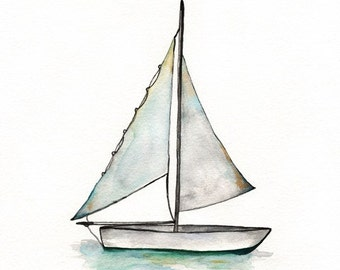 Sailboat art, watercolor print, wall art, beach art, boat painting, ocean art, Baby Boys Room, Archival Print