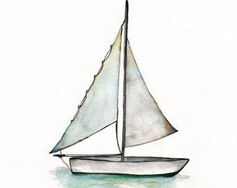 Sailboat art, watercolor print, wall art, beach art, boat painting, ocean art, Baby Boys Room, Archival Print