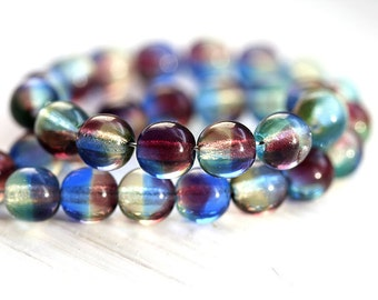 6mm Glass beads Mix in purple blue, czech glass round spacers, druk, pressed beads - 6mm - 30Pc - 0505