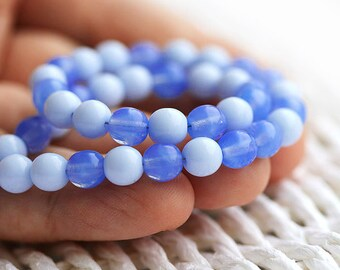Blue beads MIX, 6mm rounds, druk Czech beads, glass round spacers - 30Pc - 0512