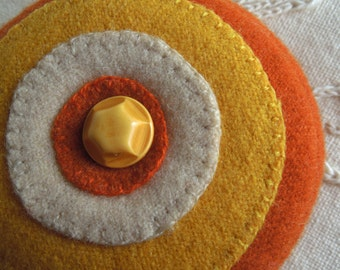 Pincushion --  Yellow and Orange  -- Felted Wool - Vintage Celluloid Button