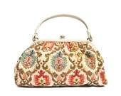 Colorful Floral Print Needlepoint 50s Vintage Handbag Olive & Pink Purse