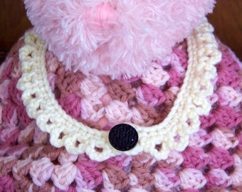 Hand Crocheted Off White Necklace with Vintage Black Button, Victorian Choker Style