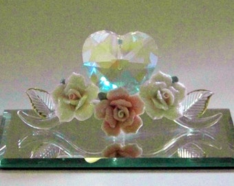 Vintage Blown Glass Figurine with Crystal Heart, Porcelain Roses, and Mirrored Base