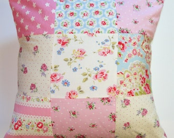 PATCHWORK CUSHION Handmade in the uk Cath Kidston fabric Girls / adults bedroom nursery decoration accessory.