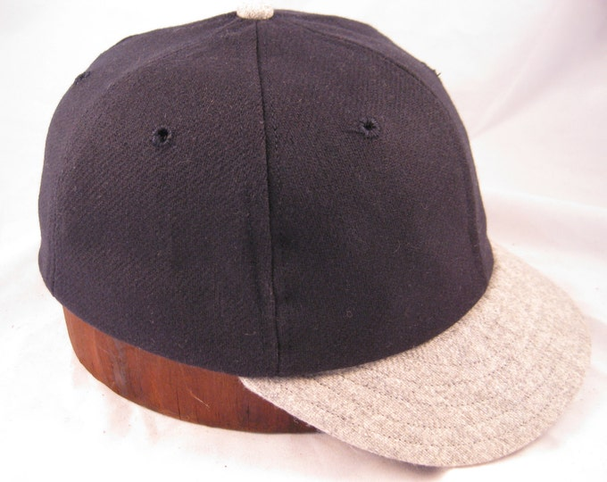 Soft 100% wool flannel 6 panel crown, vintage 1910s visor with cotton sweatband.