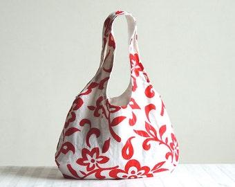 Red Flowers Hobo Tote Bag - Spring Fashion