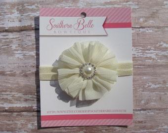 Baby headband, infant headband, newborn headband - IVORY / CREAM shabby chiffon ruffle flower and pearl center headband