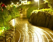 Garden landscape photography,Butchart Gardens photograph,night photography,lighted pathway print, rainy evening image, golden sidewalk photo