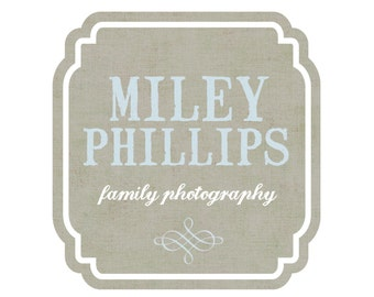 Premade Logo Design for Photographers and Small Crafty Boutiques Rustic Square Frame with Stamp Text and Scroll