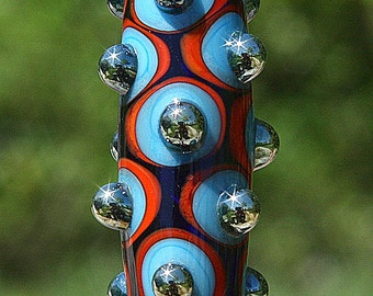 At The Disco Handmade Lampworked Glass Bead OOAK Focal Barrel Blue Orange Turquoise Silver Dots Lampwork