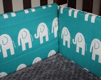Turquoise Ele Crib Bumper