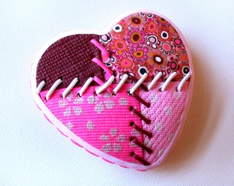 Polymer Clay Patchwork Heart Brooch.