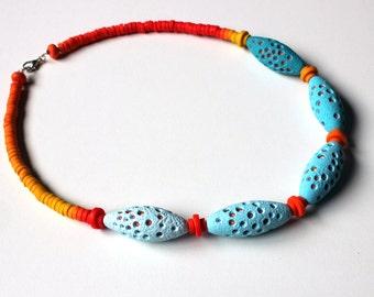 Polymer Clay Necklace, Summer Sky, light blue necklace, Fimo necklace, choker, handmade necklace, beaded necklace, Fimo choker, blue orange