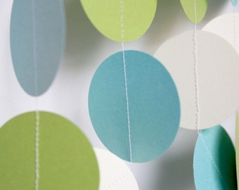 Baby Shower Decoration- Birthday decor, wedding decor, light blue, ivory, sour apple - 10 Foot Long