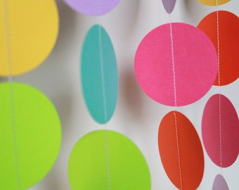 Birthday Party Decor . Paper Garland, Bright Rainbow Party Decoration