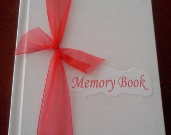Bride Memory book red ribbon ,Domichcreations etsy