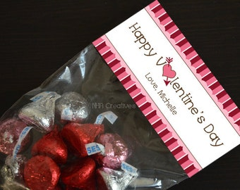 Personalized Happy Valentine's Day Treat Bag Topper - Cupid's Heart - DIY Printable Digital File