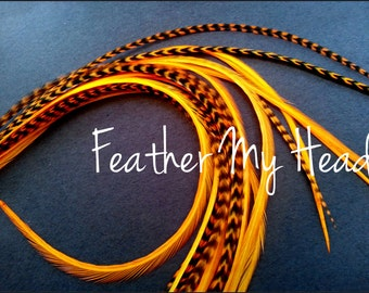 Whiting Grizzly Feather Extension Saddle Hackle Extra Long Hair Feathers 9-12 inches Bright Orange