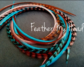16 Long Feather Hair Extensions, 9-12 inches, New For 2013 Sante Fe, Whiting Grizzly Saddle Hackle