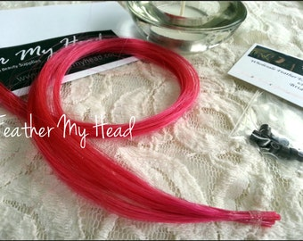 5 Piece DIY Pink 100% Human Remy Hair Extensions With Pulling Wire, Beads, And Instructions