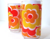 Libbey Glassware, Mod 70's Floral Drinking Glasses, Set of 2