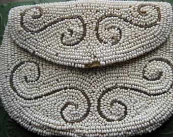 Pretty White and Silver Antique Beaded Purse
