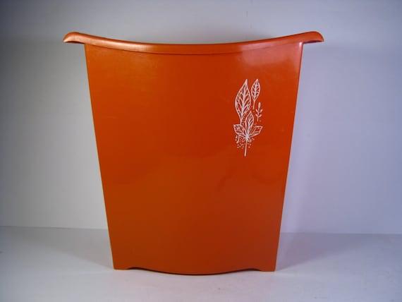 Vintage Orange Plastic Trash Can - 1970's Orange Rubbish Bin Can