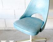 Vintage Blue Vinyl Office Chair - 1960's Retro Mod - Metal Base