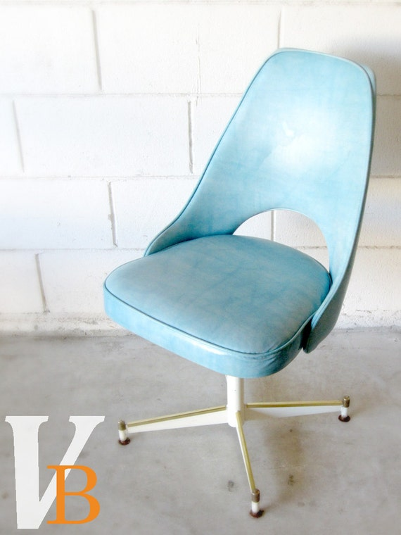 Vintage Blue Vinyl Office Chair 1960 S Retro Mod By Verdibou