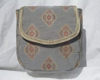 Blue-Grey Tapestry Patterned Belt Pouch OOAK