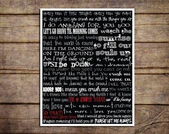 Custom Dave Matthews Band Crush Lyrics 11 x 14 Print