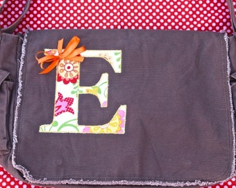 Personalized Large Initial Large Raw Edge Messenger-Diaper Bag- Applique- QUICK SHIP